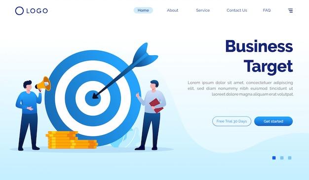 Modello di vettore piatto pagina di destinazione obiettivo di affari