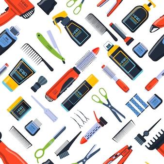 Modello di vettore senza cuciture del negozio di barbiere fondo piano dell'icona del salone di bellezza del parrucchiere