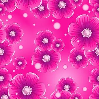 Modello di vettore senza soluzione di continuità con bellissimi fiori rosa