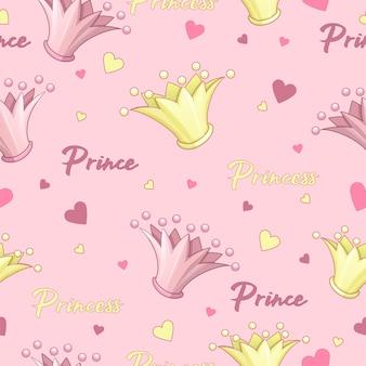 Modello di vettore senza soluzione di continuità per principe e principessa. corona rosa, oro