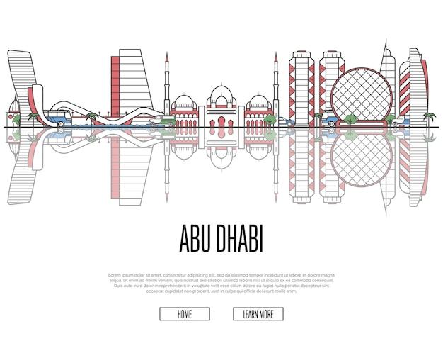 Modello di viaggio abu dhabi in stile lineare