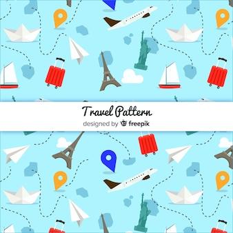 Modello di viaggio con elementi e linee tratteggiate