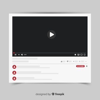 Modello di video player di youtube vettorializzato