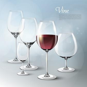 Modello di vino elegante realistico con bicchieri vuoti e pieni di diverse dimensioni su grigio