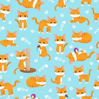 Modello di vivaio senza soluzione di continuità bambino. simpatici gatti kawaii allo zenzero con zampe e lische di pesce. personaggio dei cartoni animati.