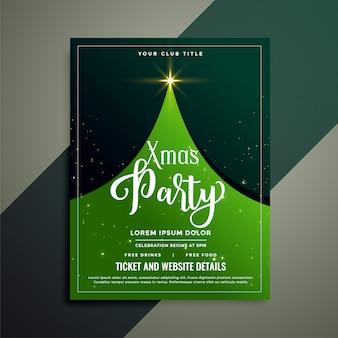 Modello di volantino albero di Natale verde