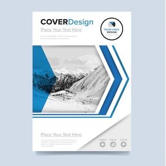 Modello di volantino aziendale in moderno design bianco e blu per aziende e agenzie