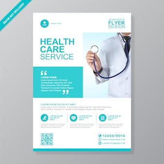 Modello di volantino aziendale sanitario e medico copertina a4