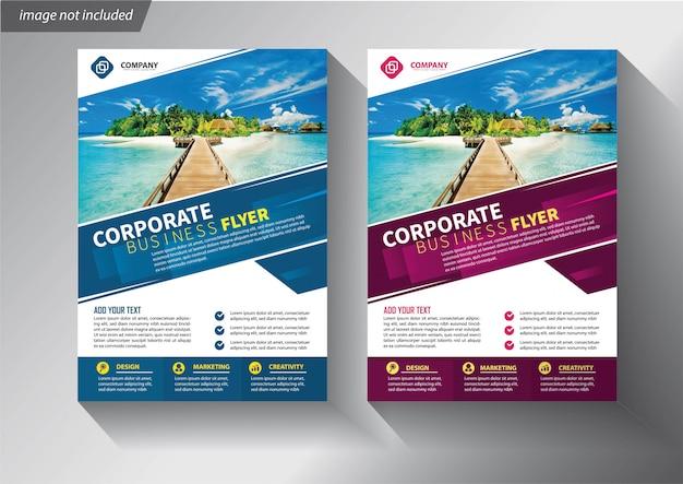 Modello di volantino blu e viola per brochure aziendale