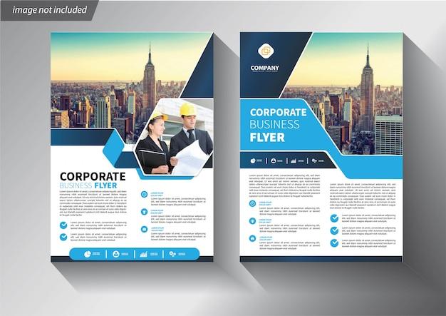 Modello di volantino blu per brochure aziendale