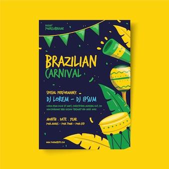 Modello di volantino carnevale brasiliano disegnato a mano