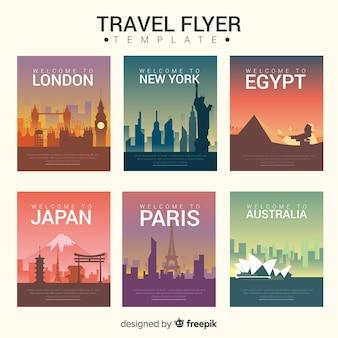 Modello di volantino cartoline città