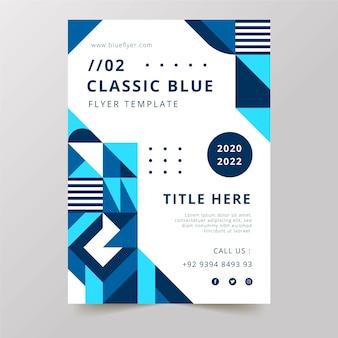 Modello di volantino classico tavolozza blu 2020