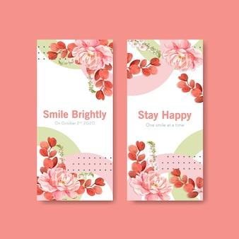 Modello di volantino con bouquet di fiori design per il concetto di giornata mondiale del sorriso per brochure e illustraion vettore acquerello marketing