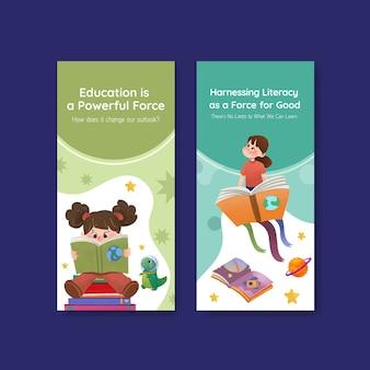 Modello di volantino con concept design della giornata internazionale dell'alfabetizzazione