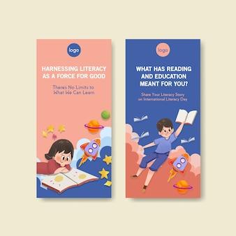 Modello di volantino con concept design giornata internazionale dell'alfabetizzazione per brochure e volantini acquerello.