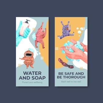 Modello di volantino con concept design globale del giorno del lavaggio delle mani