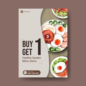 Modello di volantino con design di alimenti sani e biologici
