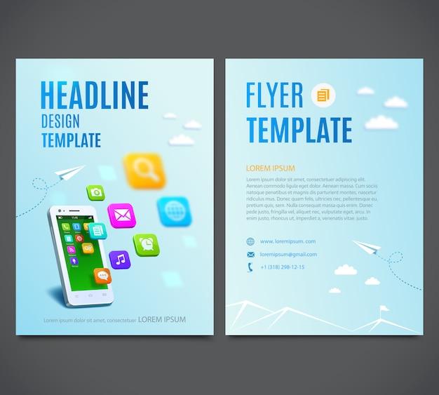 Modello di volantino con smartphone bianco con nuvola di icone colorate dell'applicazione.