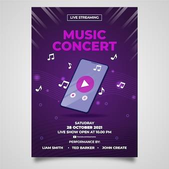 Modello di volantino concerto di musica in diretta streaming disegnato a mano