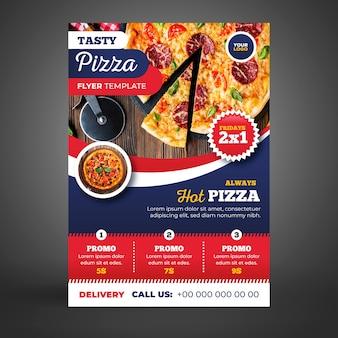 Modello di volantino consegna pizza con foto