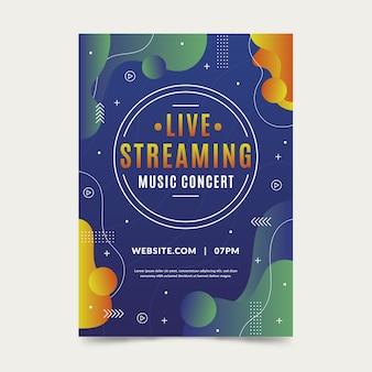 Modello di volantino del concerto di musica in diretta streaming