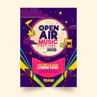 Modello di volantino del festival di musica all'aperto