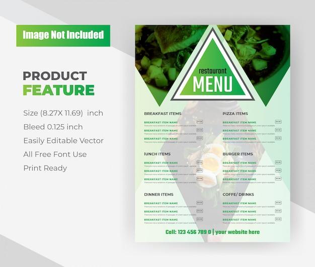 Modello di volantino del menu cibo ristorante.