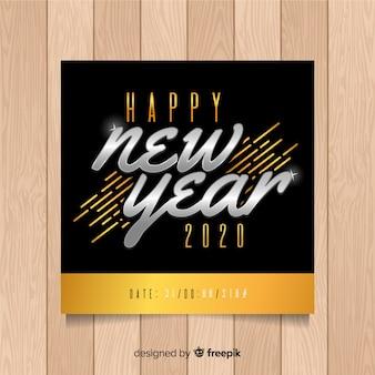 Modello di volantino del nuovo anno in oro