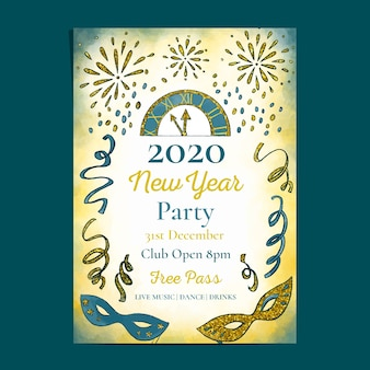 Modello di volantino del partito dell'acquerello nuovo anno 2020