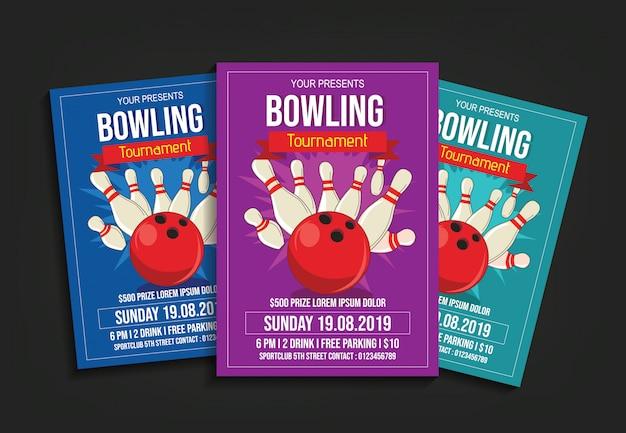 Modello di volantino del torneo di bowling
