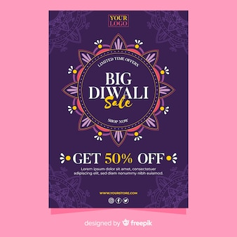 Modello di volantino dell'evento di vendita di diwali
