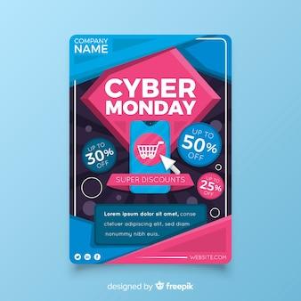 Modello di volantino design piatto cyber lunedì