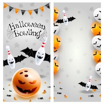 Modello di volantino di bowling di halloween