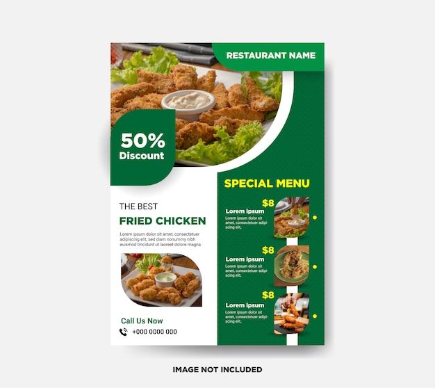 Modello di volantino di cibo di pollo fritto
