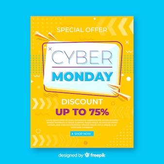 Modello di volantino di cyber lunedì con design piatto
