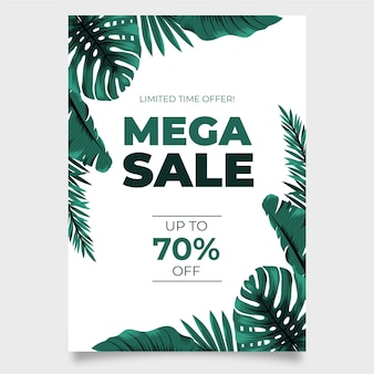 Modello di volantino di foglie esotiche mega vendita