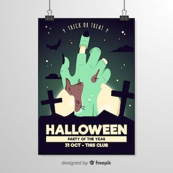 Modello di volantino di halloween mano marcio zombie primo piano
