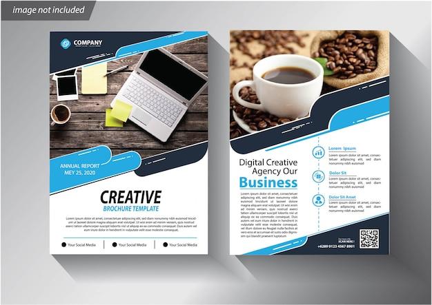 Modello di volantino di relazione annuale layout brochure con forma geometrica