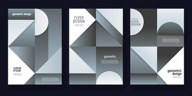 Modello di volantino di sfondo geometrico grigio