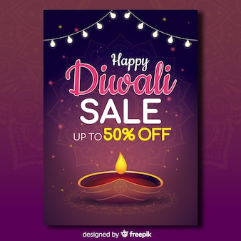 Modello di volantino di vendita colorato di diwali con design piatto