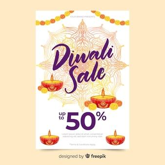 Modello di volantino di vendita di diwali dell'acquerello con candele e ghirlanda