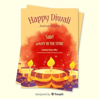 Modello di volantino di vendita di diwali dell'acquerello