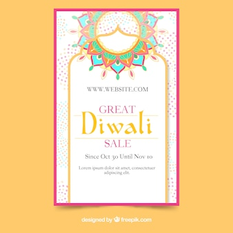 Modello di volantino di vendita di diwali disegnato a mano incantevole