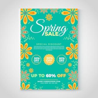 Modello di volantino di vendita di primavera con fiori