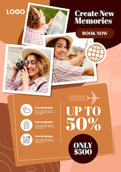 Modello di volantino di vendita di viaggio
