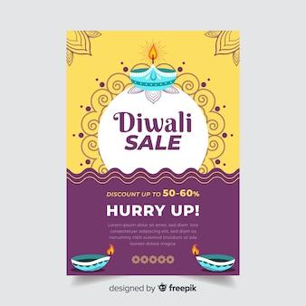 Modello di volantino di vendita piatto diwali e sole ornamentale e onde