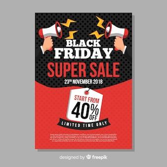Modello di volantino di vendita venerdì nero con megafono