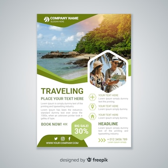 Modello di volantino di viaggio con foto