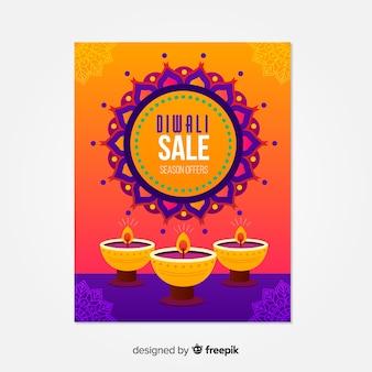 Modello di volantino diwali con vendita